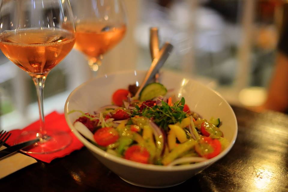 Pinot Blush and Salad